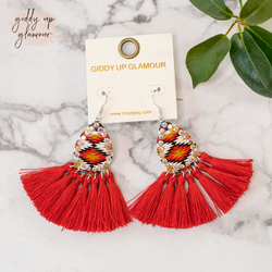 trendy womens jewelry red tassel aztec print earrings