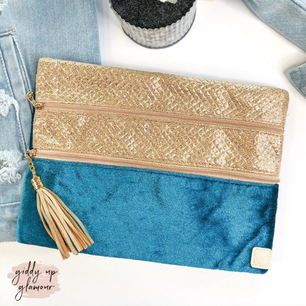 Into the Blue  | The Versi Two Pouch Velvet Bag in Teal