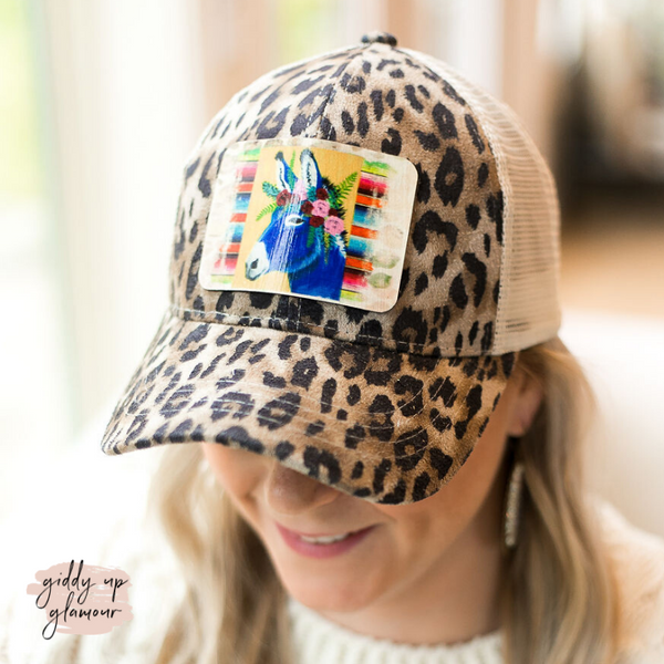 Wild and Free Donkey Leopard Print Mesh Back Cap