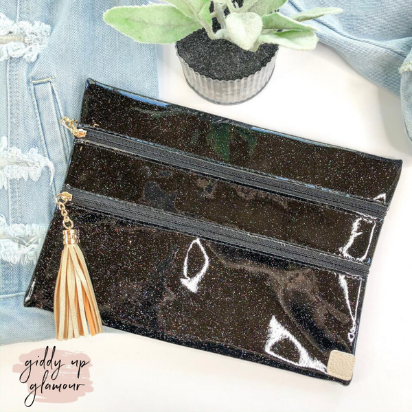 Celestial Stunner | The Versi Two Pouch Bag in Black Glitter