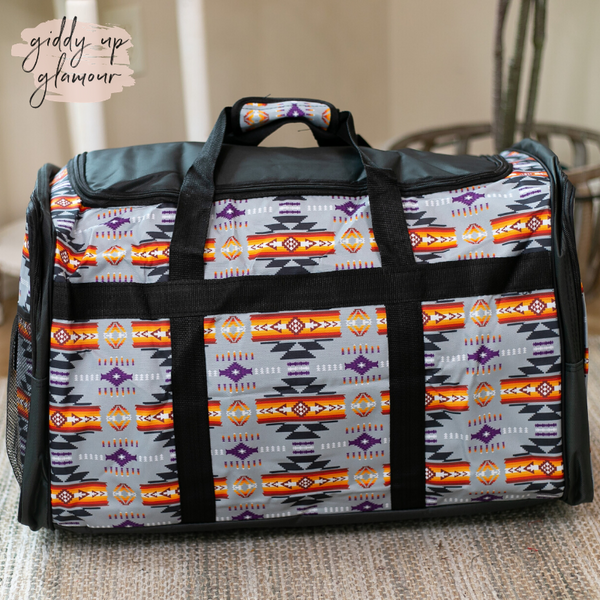 Going Places Large Aztec Duffel Bag in Grey
