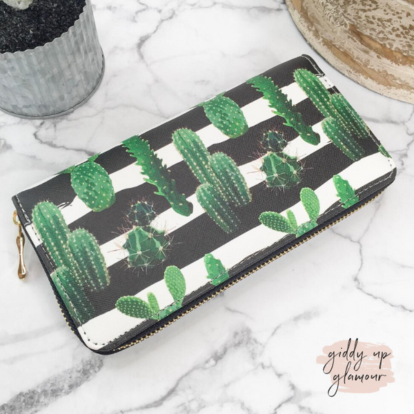Striped Cactus Zip-Around Wallet