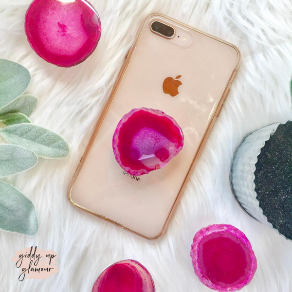 Agate Stone Phone Grip in Hot Pink