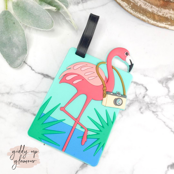 Tourist Flamingo Luggage Tag
