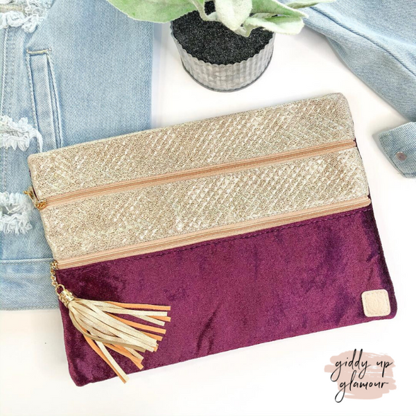 Purple Reign  | The Versi Two Pouch Velvet Bag in Purple