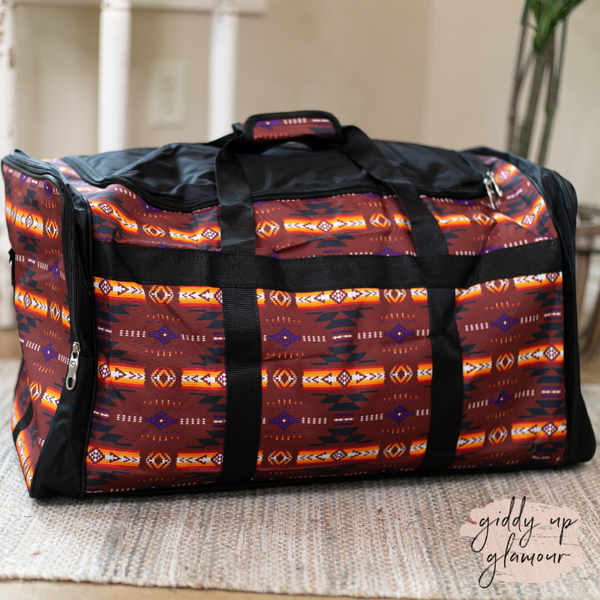 Going Places Large Aztec Duffel Bag in Rust Red
