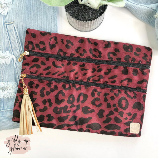 Midnight Prowl | The Versi Two Pouch Bag in Maroon Leopard