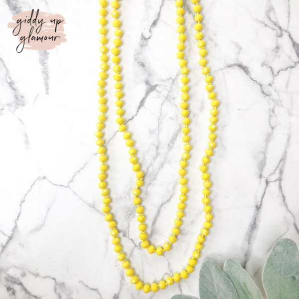 60 Inch Long Layering 8mm Crystal Strand Necklace in Banana Yellow