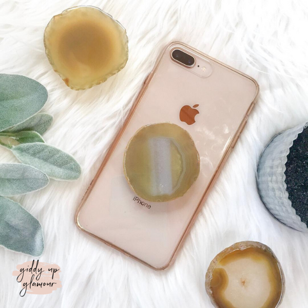 Agate Stone Phone Grip in Olive Green