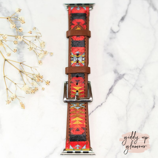 Leather Apple Watch Band in Red and Black Aztec