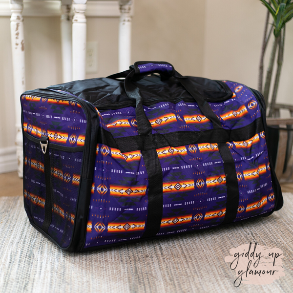 Going Places Large Aztec Duffel Bag in Purple
