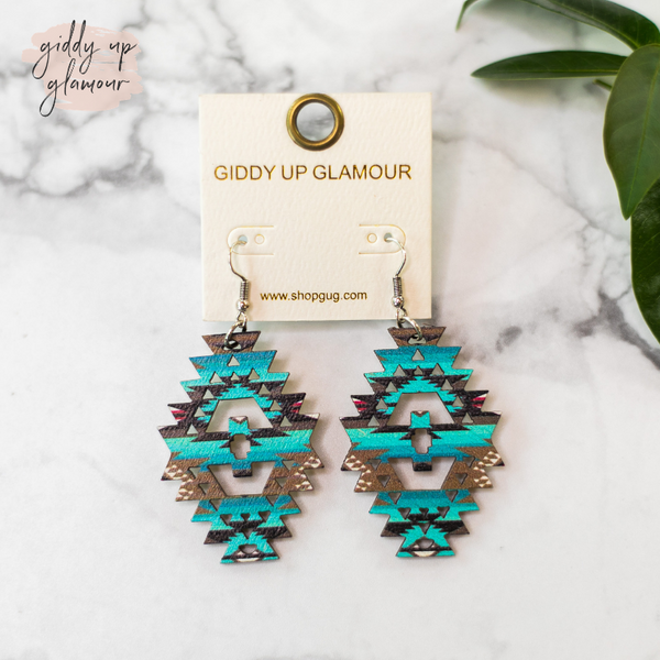Aztec Shaped Wooden Earrings in Turquoise and Brown Aztec