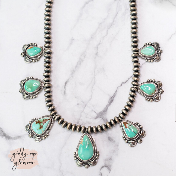Randy Boyd | Handmade Navajo Royston Turquoise & Saucer Navajo Pearl Bib Necklace + Matching Earrings