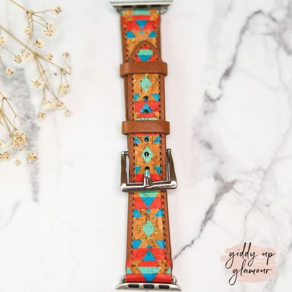 Leather Apple Watch Band in Tribal Cork