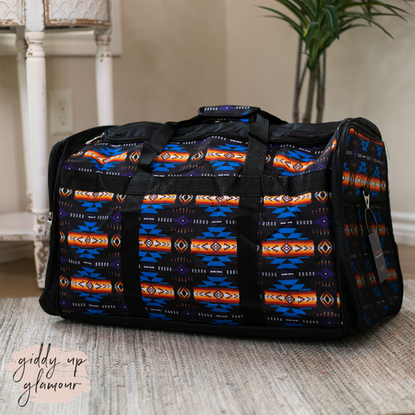 Going Places Large Aztec Duffel Bag in Black
