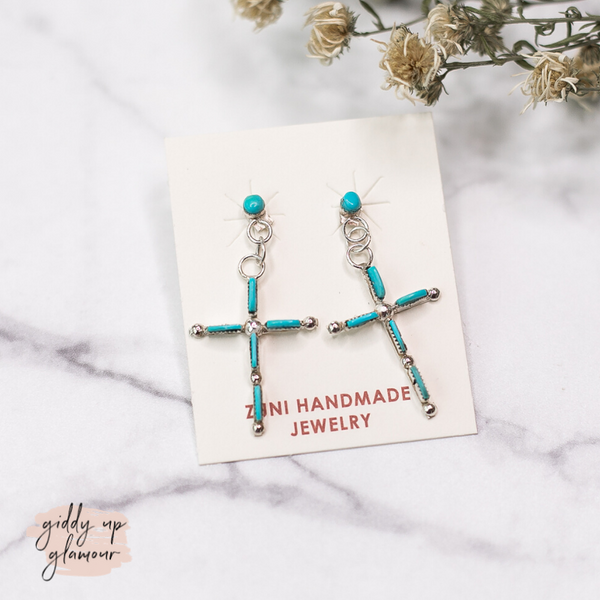 Zuni | Genuine Navajo Sterling Silver and Turquoise Small Skinny Cross Dangle Earrings