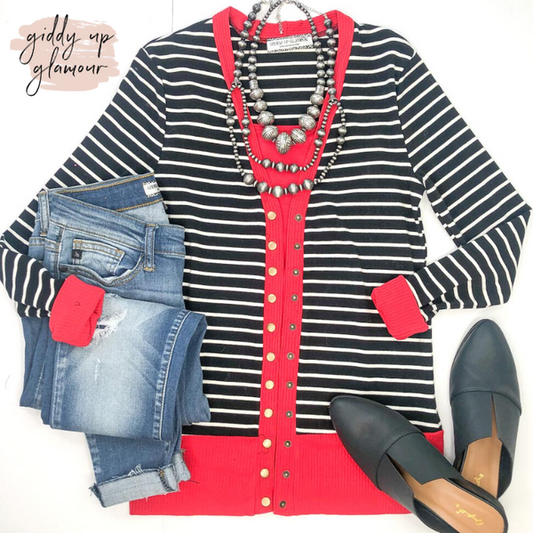 The Weekender Black Striped Button Up Sweater with Red Trim