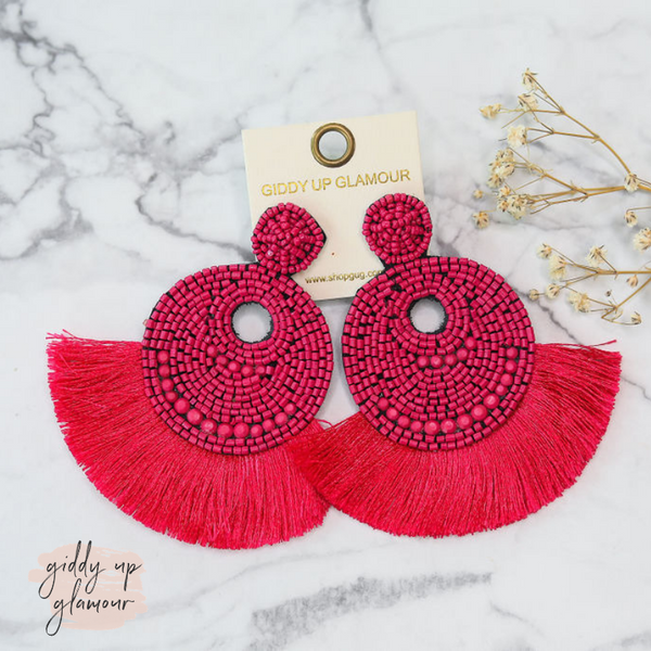Beaded Statement Earrings with Fringe Trim in Fuchsia