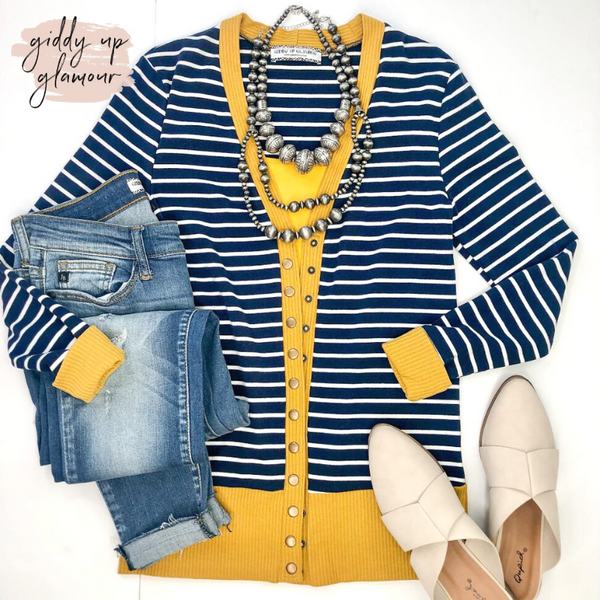 The Weekender Navy Blue Striped Button Up Sweater with Mustard Trim