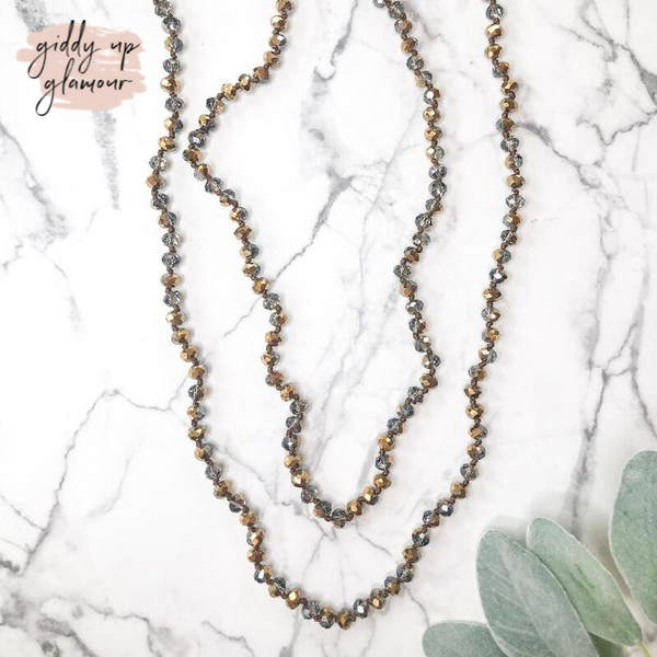 60 Inch Long Layering 8mm Crystal Strand Necklace in Bronzed Charcoal