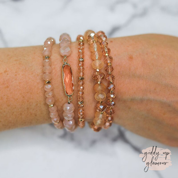 5 Piece Crystal Bracelet Set in Blush