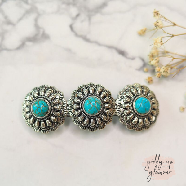 Silver Concho Hair Clip with Turquoise Stones