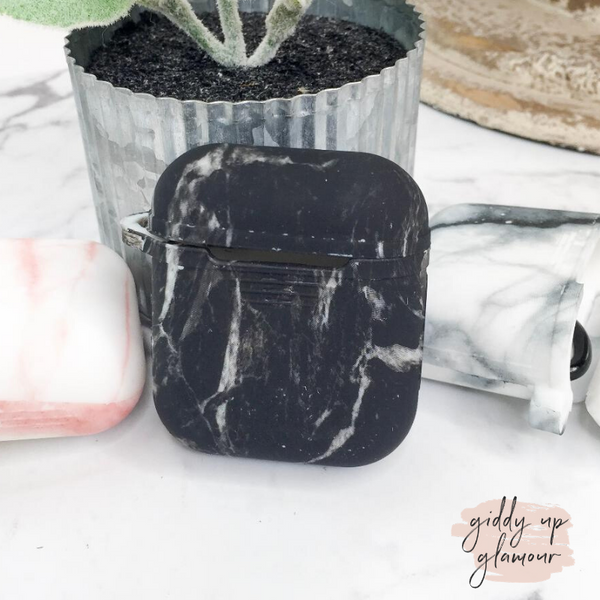 Protective AirPods Case in Black Marble