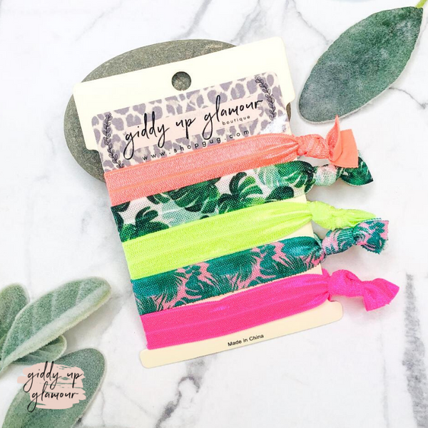 Set of 5 Soft Hair Ties in Neon Palm Leaves
