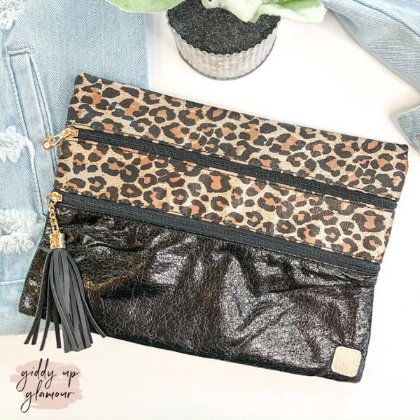 Leopard & Luxe  | The Versi Two Pouch Bag in Black and Leopard
