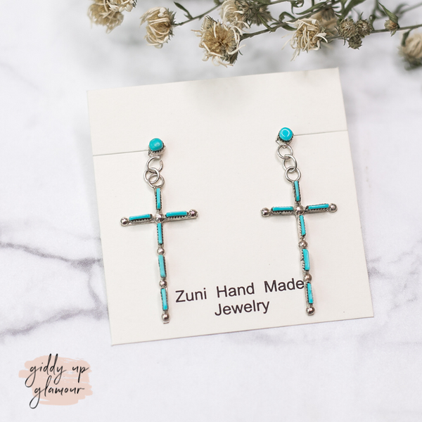 Zuni | Genuine Navajo Sterling Silver and Turquoise Long Skinny Cross Dangle Earrings