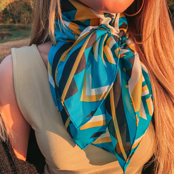 Southwest Wild Rag in Teal, Emerald, and Yellow