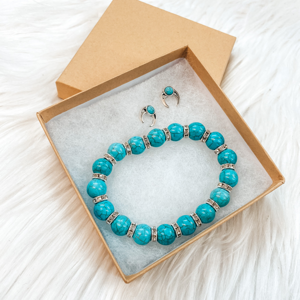 Holiday Special | Turquoise Beaded Bracelet with Silver Crystal Spacers and Naja Stud Stone Earring Set in Gift Box
