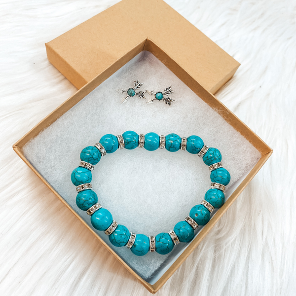 Holiday Special | Turquoise Beaded Bracelet with Silver Crystal Spacers and Arrow Stud Stone Earring Set in Gift Box