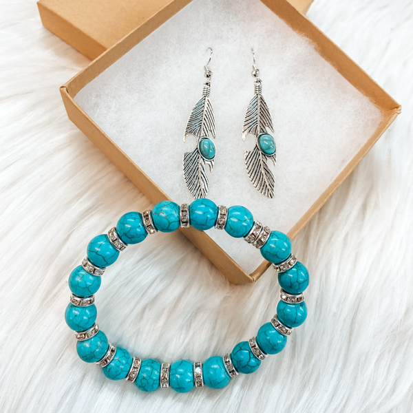 Holiday Special | Turquoise Beaded Bracelet with Silver Crystal Spacers and Silver Feather Earring Set in Gift Box