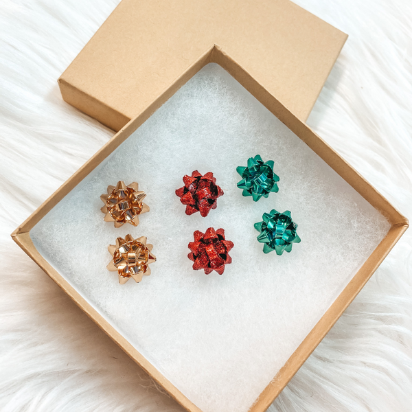 Holiday Special | Set of 3 Gift Bow Stud Earrings in Gold, Red, and Green in Gift Box