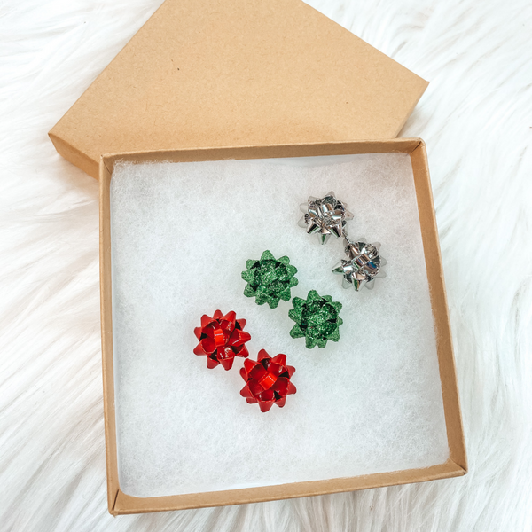 Holiday Special | Set of 3 Gift Bow Stud Earrings in Silver, Red, and Green in Gift Box