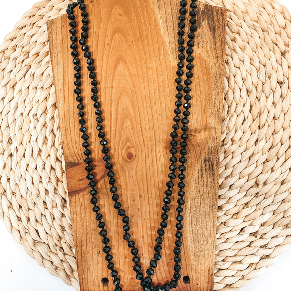 60 Inch Long Layering 8mm Crystal Strand Necklace in Black