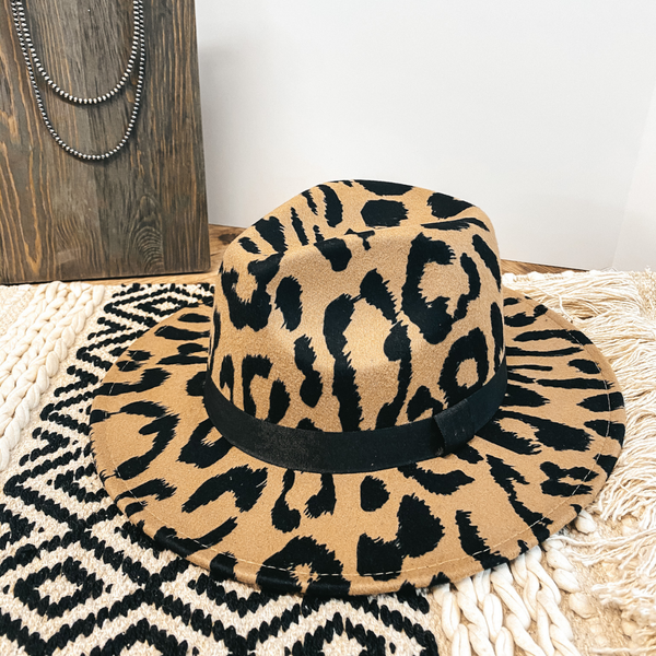 Wild Adventure Flat Brim Large Leopard Hat in Tan