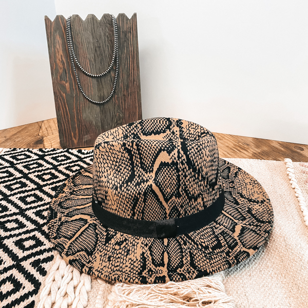 Wild Adventure Flat Brim Hat in Snake Print