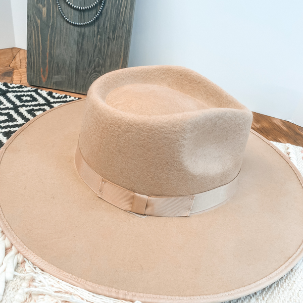 Ramblin' Road Ribbon Banded Rancher Hat in Beige