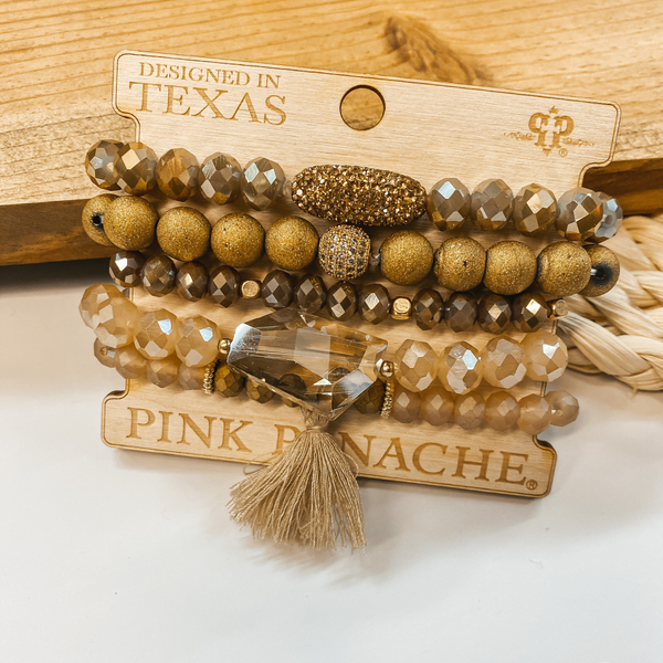 Pink Panache | Crystal Beaded Bracelet Set with Leather Tassel in Bronze, Gold, and Champagne