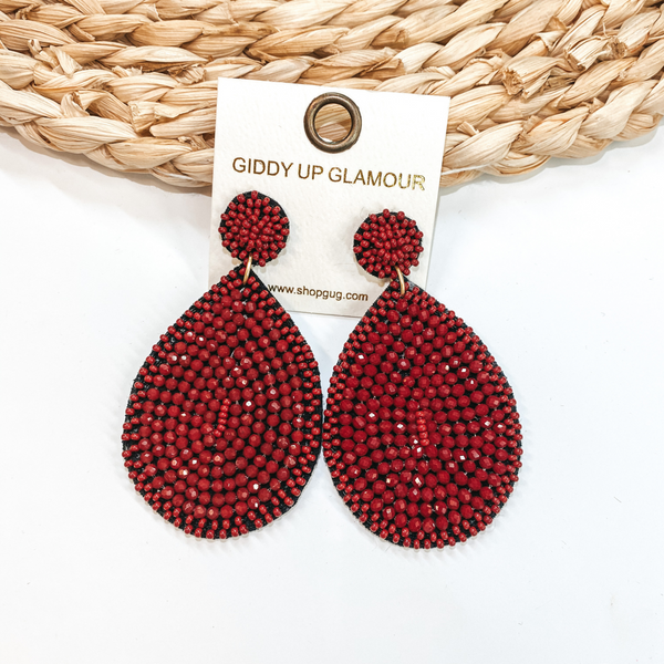 Crystal Beaded Circle Post Earrings with Large Teardrop Dangle in Burgundy