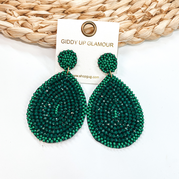 Crystal Beaded Circle Post Earrings with Large Teardrop Dangle in Green