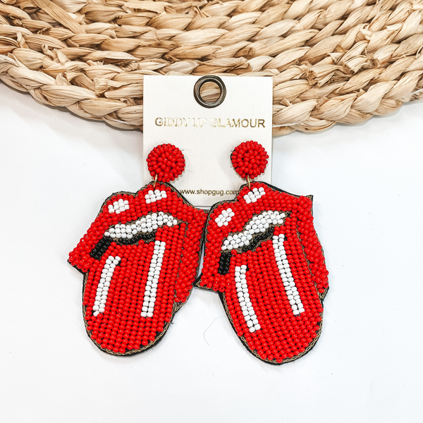 Rock and Roll Tongue Beaded Earrings in Red and White