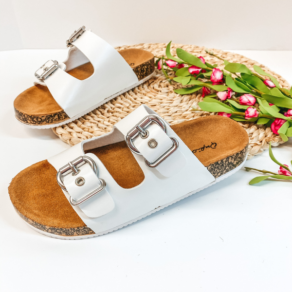 Living Easy Double Buckle Slide On Sandals in White