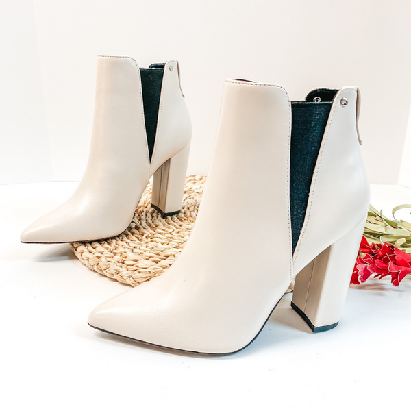 Made For Walking Pointed Toe Booties in Ivory