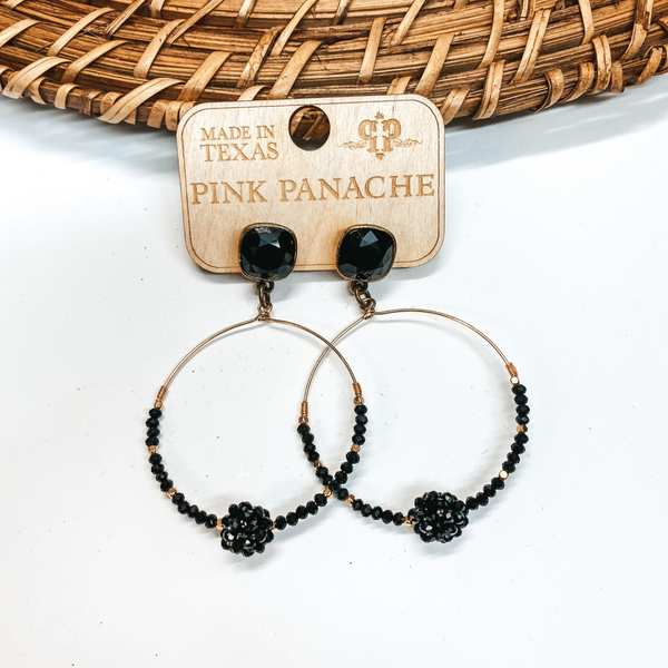 Pink Panache | Black and Gold Beaded Knot Hoop Earrings with Cushion Cut Crystals in Black