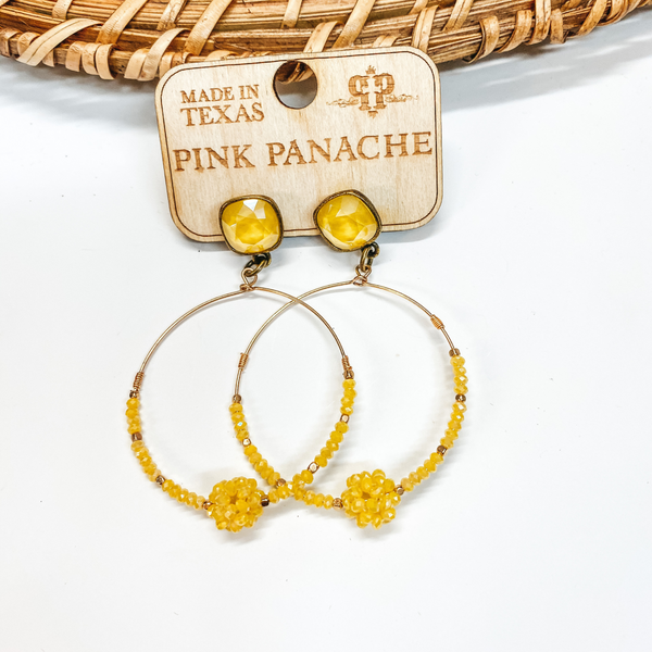 Pink Panache | Yellow and Gold Beaded Knot Hoop Earrings with Cushion Cut Crystals in Yellow