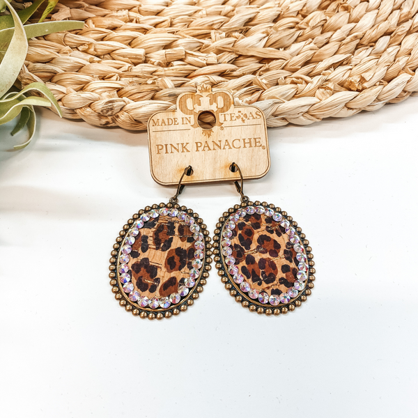 Pink Panache Bronze Oval Earrings with Leopard Inlay and AB Crystals