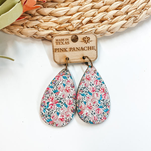 Pink Panache | Wooden Teardrop Earrings With Roses, Leopard Print, and AB Crystals in Blush